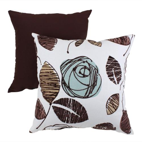 """18.5"""" Eco-Friendly Virgin Recycled Decorative Floral Throw Pillow - Blue/Brown"""