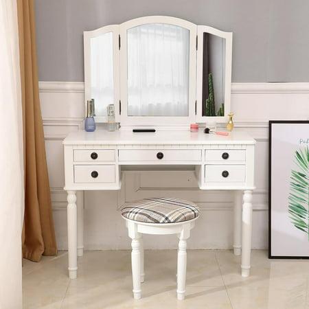 Zimtown Tri-Folding Mirror Vanity Set Makeup Dressing Table with Cushioned Stool & 5 Storage Drawer Wood Furniture (White) ()