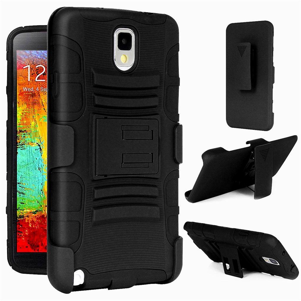 Arc® Samsung Galaxy Note 3 Armor Belt Clip Holster Case Cover Black