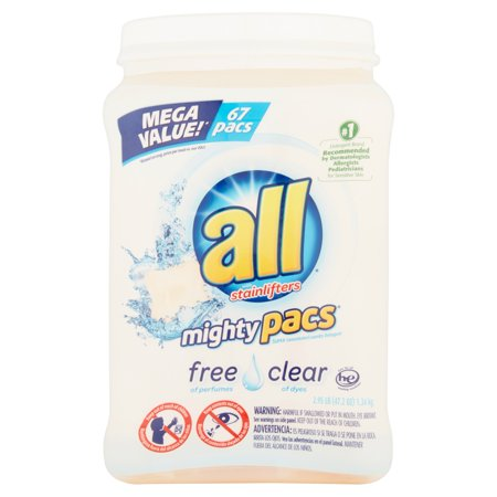 All With Stainlifters Mighty Pacs Free Clear Super Concentrated Laundry Detergent  67 Count  47 2 Oz