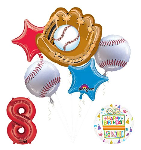 Baseball 8th Birthday Party Supplies and Balloon Bouquet Decorations