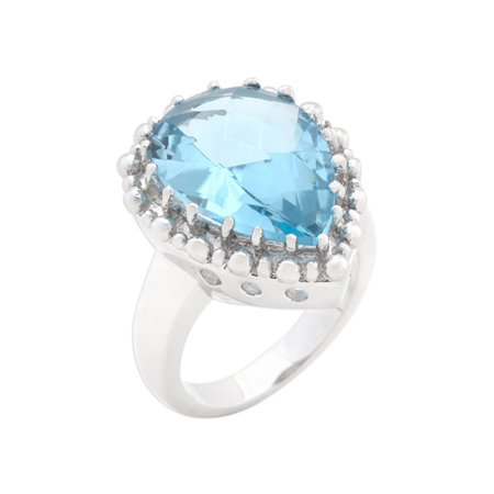 Solitaire Blue Topaz Cocktail Ring Size 10 (Blue Topaz Ring Size 10)