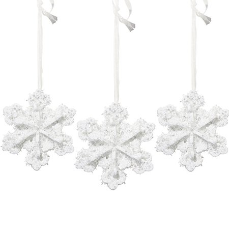 Christmas 3D Glitter Foam Snowflakes Hanging Decorations (3ct)](Foam Snowflakes)