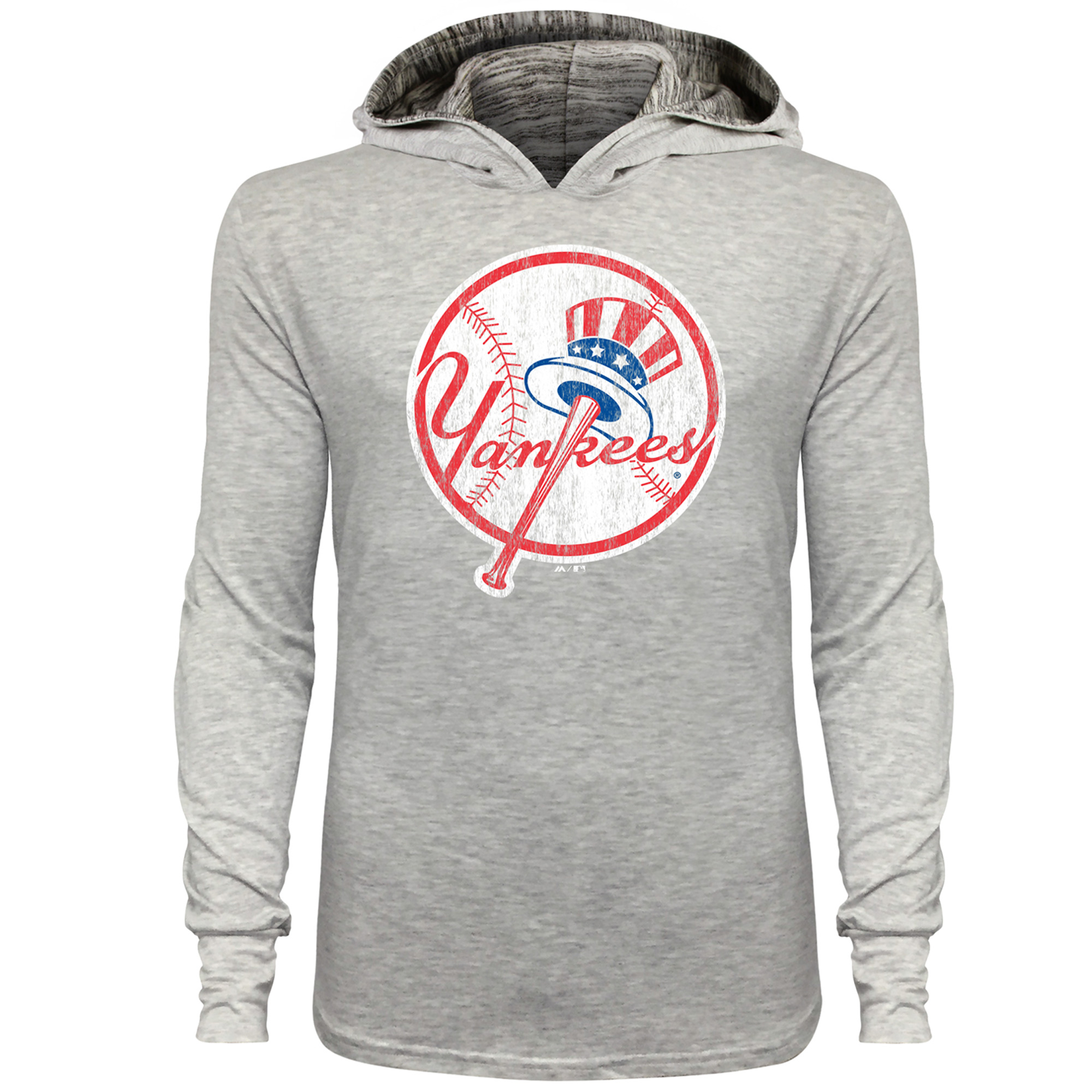 New York Yankees Majestic Threads Pullover T-Shirt with Marble Hood - Gray
