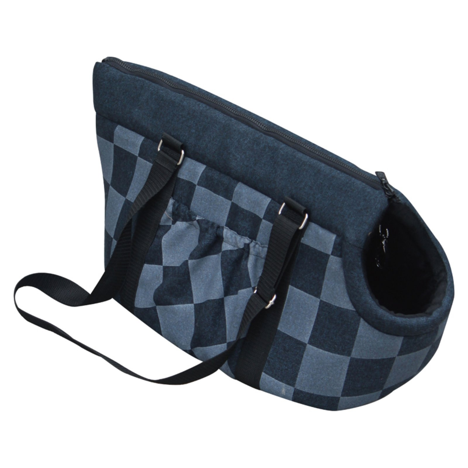 Petpals Group Checkered Pet Carry Tote, Blue