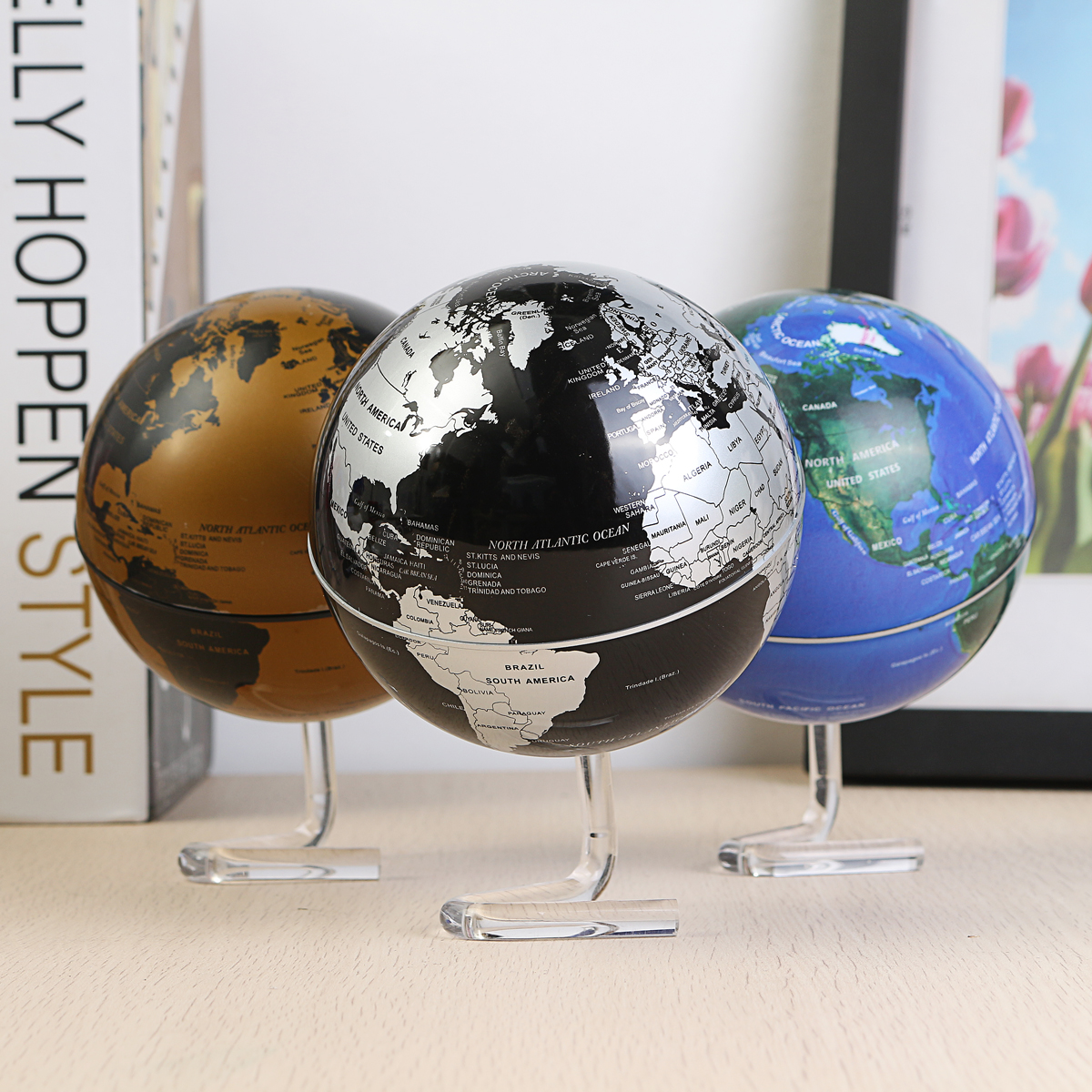 4 inch 360° Diameter Electric Automatic Rotating Globe Battery Powered Desktop World Map Home Room Office