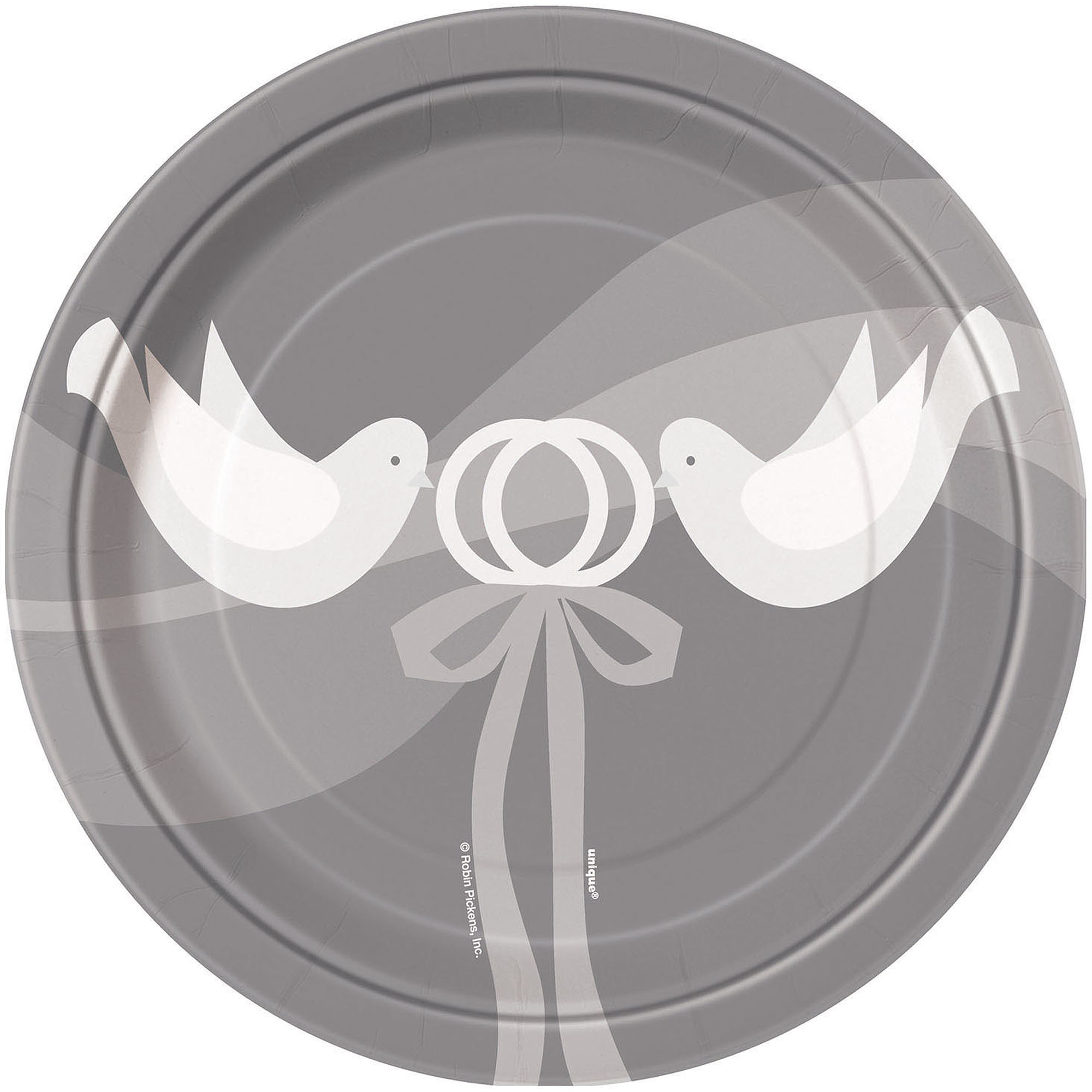 Silver Wedding Paper Plates, 7 in, 8ct