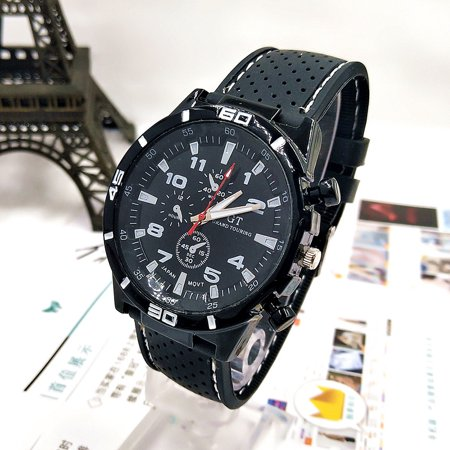 Men Fashion Silicone Watchband Round Dial Quartz Wristwatch Sports Wrist Watch white