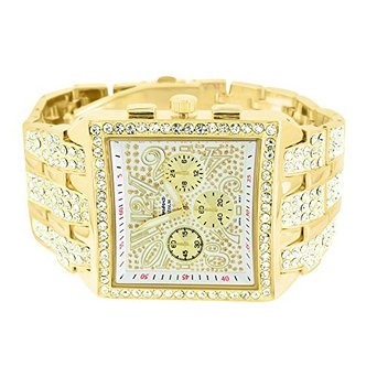 Bug Watch - Big Square Face Watch Mens Iced Out Lab Created Cubic Zirconias Geneva Gold Steel Back Jojo