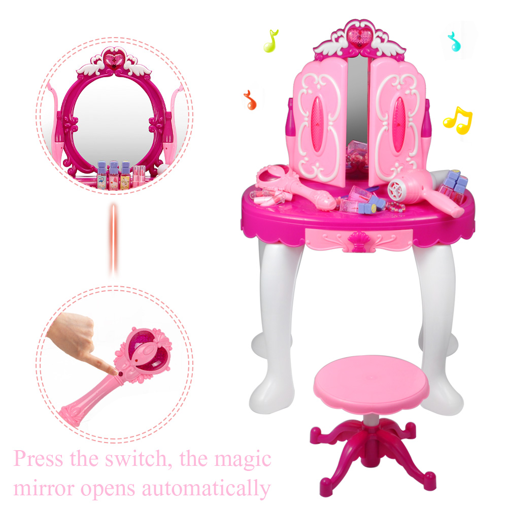EECOO Girls Make Up Dressing Table, Kids Pretend Play Toy Beauty Mirror  Vanity Playset With