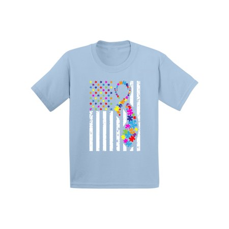 Awkward Styles Autism Ribbon Flag Toddler Shirt Autism Awareness Shirt for Kids Autism American Flag Tshirt Autism Color Flag Shirt for Toddlers Autism Awareness Gifts for Boys and Girls Autism Shirt](Color For Autism)