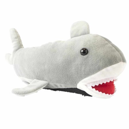 Mens Plush Gray Shark Slippers Adult House Shoes