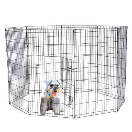 Musetech Dog Exercise Pen Pet Playpens for Small Dogs - Puppy Playpen Outdoor Yard Fence Cage Fencing Doggie Rabbit Cats Playpens Outside Fences with Door - Foldable 24 Inch Metal Wire