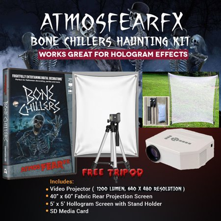 Halloween Atmosfearfx Bone Chillers DVD Card Projector Kit, 1200 Lumen Projector with 640 x 480 - Halloween Dvd Projector