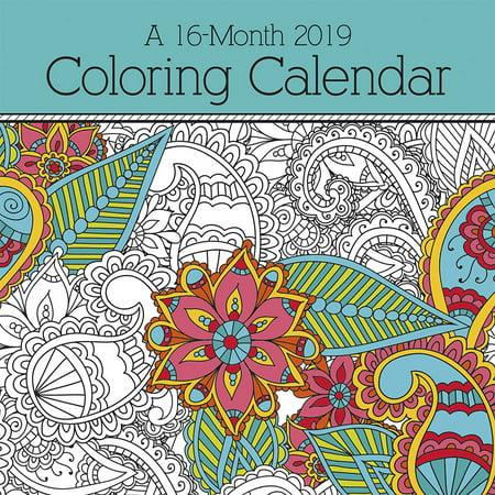 2019 coloring calendar wall calendar