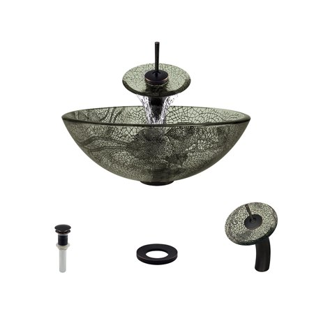 MR Direct 624 Vessel Sink Ensemble with an Antique Bronze finish waterfall faucet, pop-up drain, and sink ring. Antique Bronze Pop Up Drain