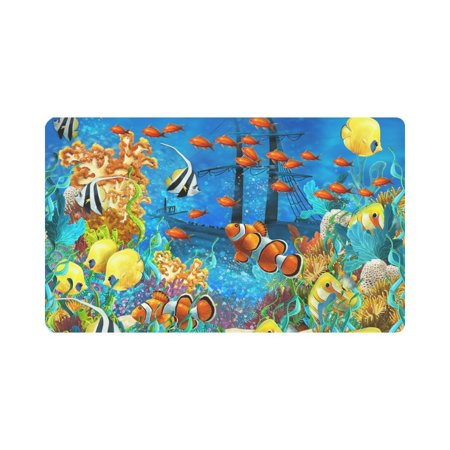 MKHERT Tropical Coral Reef Fishes Ocean Sea Life Doormat Rug Home Decor Floor Mat Bath Mat 30x18 inch ()