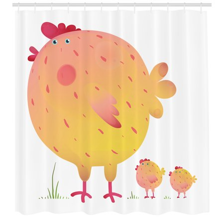 Chicken Shower Curtain, Mother Hen and Chicks Farm Animals Agriculture Family Theme, Fabric Bathroom Set with Hooks, Dark Coral Pale Orange Yellow, by Ambesonne - Mom Shower