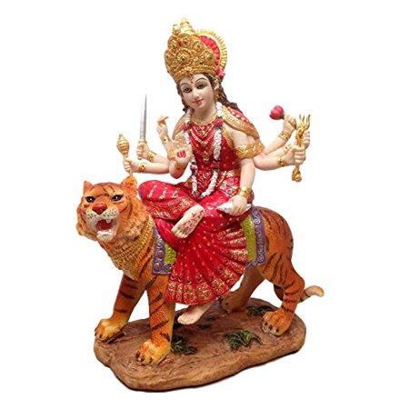 Goddess Durga Sitting On Tiger Statue The Invincible Devi Shakti Independence