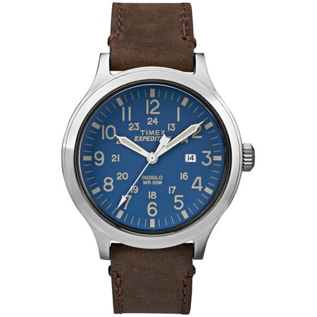 Men's Expedition Scout 43 Blue Dial Watch, Brown Leather Strap Blue Leather Strap Watch