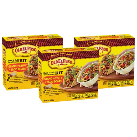 (3 Pack) Old El Paso Stand 'N Stuff Hard and Soft Taco Dinner Kit, 9.4 oz