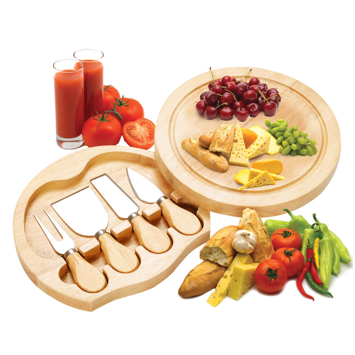Costway 5 PCS Stainless Steel Cheese Knife Set with Round Wood Slide Out Cutting Board