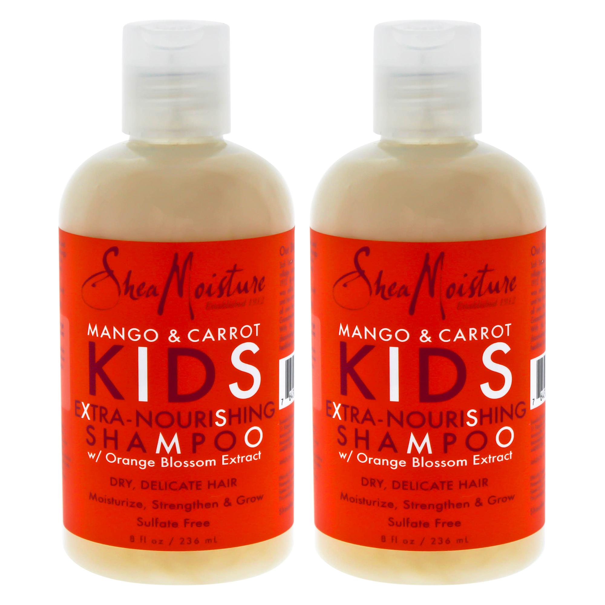 Mango and Carrot Kids Extra-Nourishing Shampoo by Shea Moisture for Kids - 8 oz Shampoo - Pack of 2