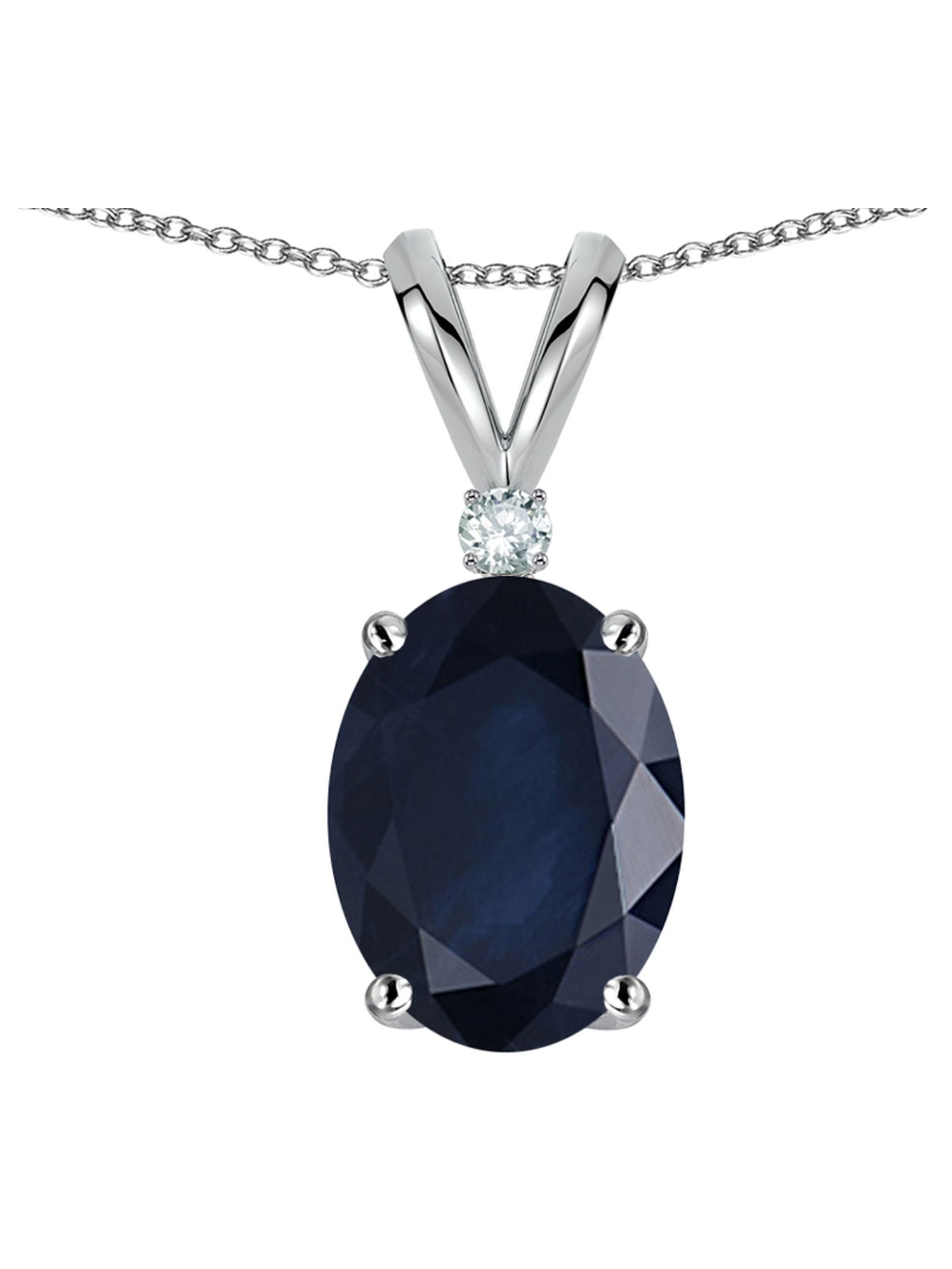 Star K Oval 7x5mm Genuine Sapphire Classic Rabbit Ears Pendant Necklace by Star K