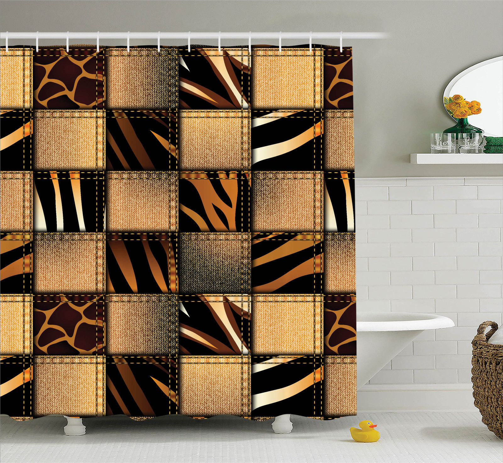 Safari Decor Shower Curtain Set, Jeans Denim Patchwork In Safari Style Animal  Print Stylish Fashionable