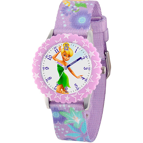 Disney Tinker Bell Girls' Stainless Steel with Bezel Watch, Printed Fabric Strap