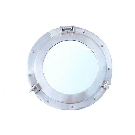 Brushed Nickel Decorative Ship Porthole Mirror 12