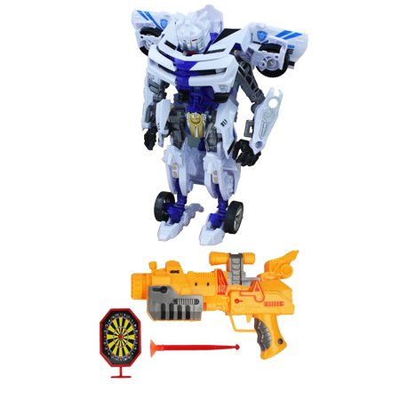 Transforming Combat Warrior Robot White Chevy Camaro Sports Coupe Car with Cool Handgun and Dart - Combat Arms Halloween Music