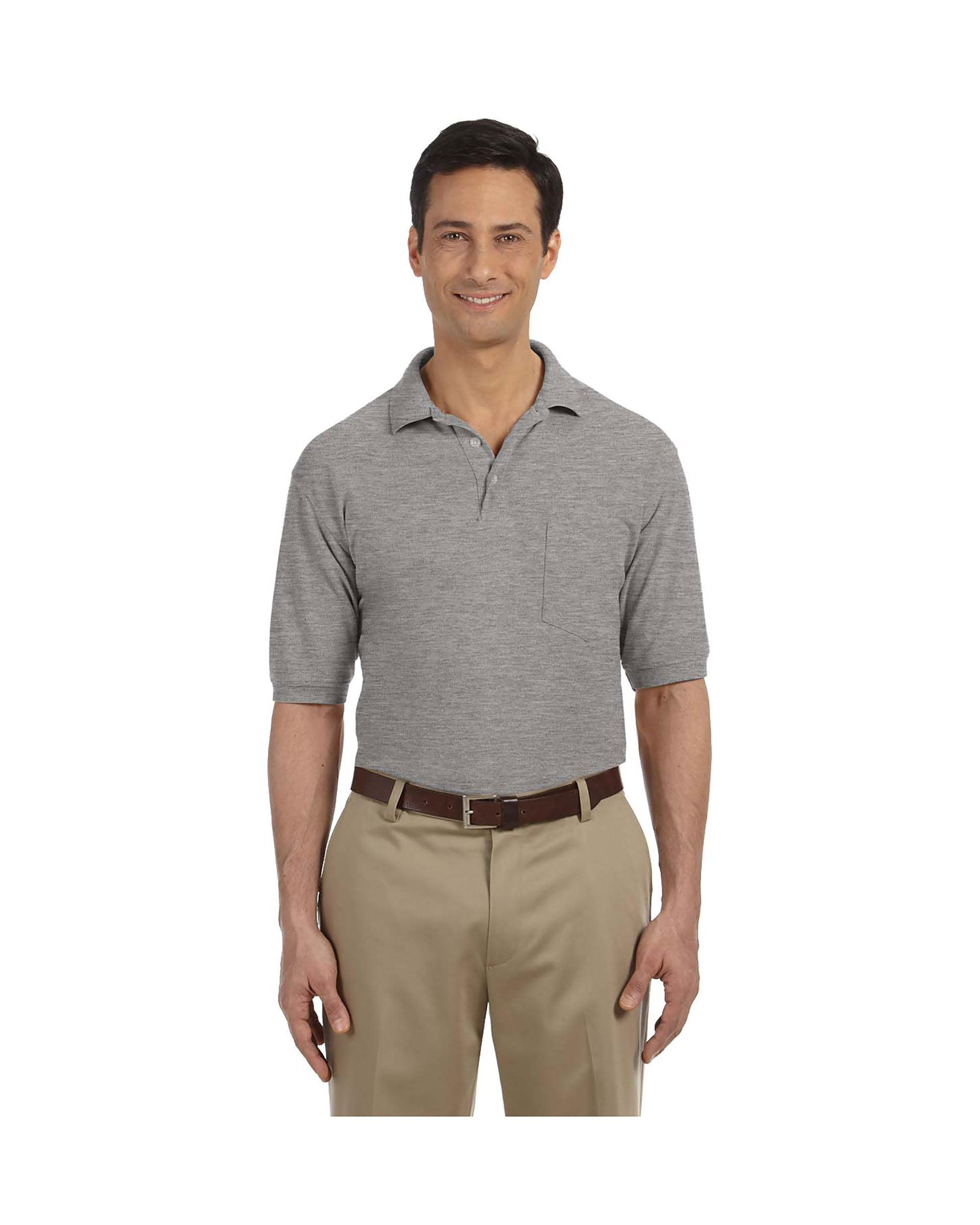 Stone Harriton Mens Easy Blend Pique Polo Shirt
