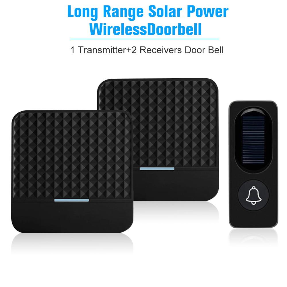 300M/1000ft Long Range Solar Power Wireless Waterproof Doorbell Light Control Sensor with 1 Transmitter+2 Receivers 52 Melodies 4 Volume Levels Adjustable Door Bell