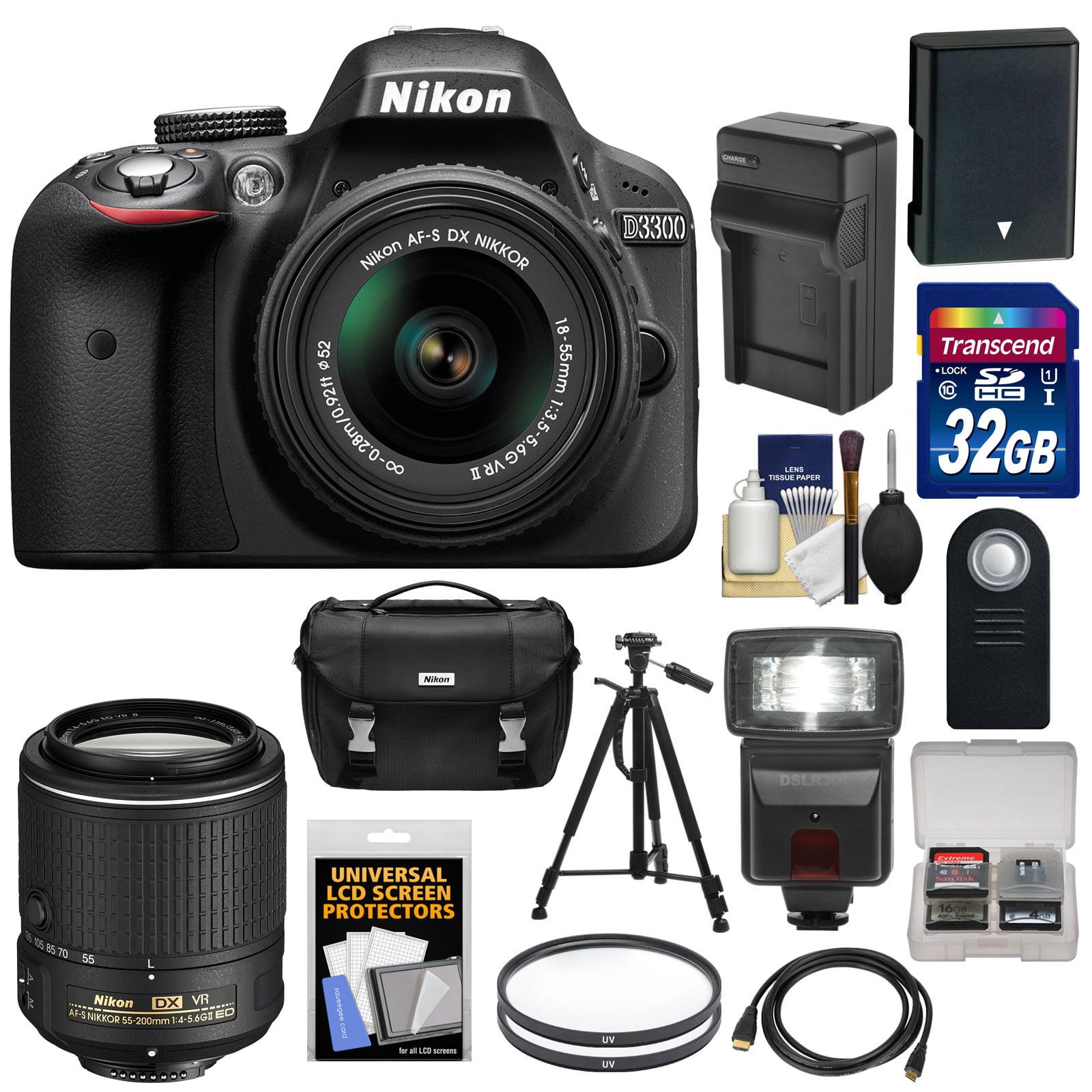 Nikon D3300 Digital SLR Camera & 18-55mm G VR DX II (Black) with 55-200mm VR II Lens + 32GB Card + Battery & Charger + Case + Flash + Tripod Kit