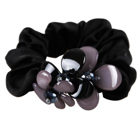 Elastic Flower Rope No Dent Hair Ties Bands Ponytails Holders Scrunchie Hair  Accessories for Mother s Day Gift Black 39de21ec282