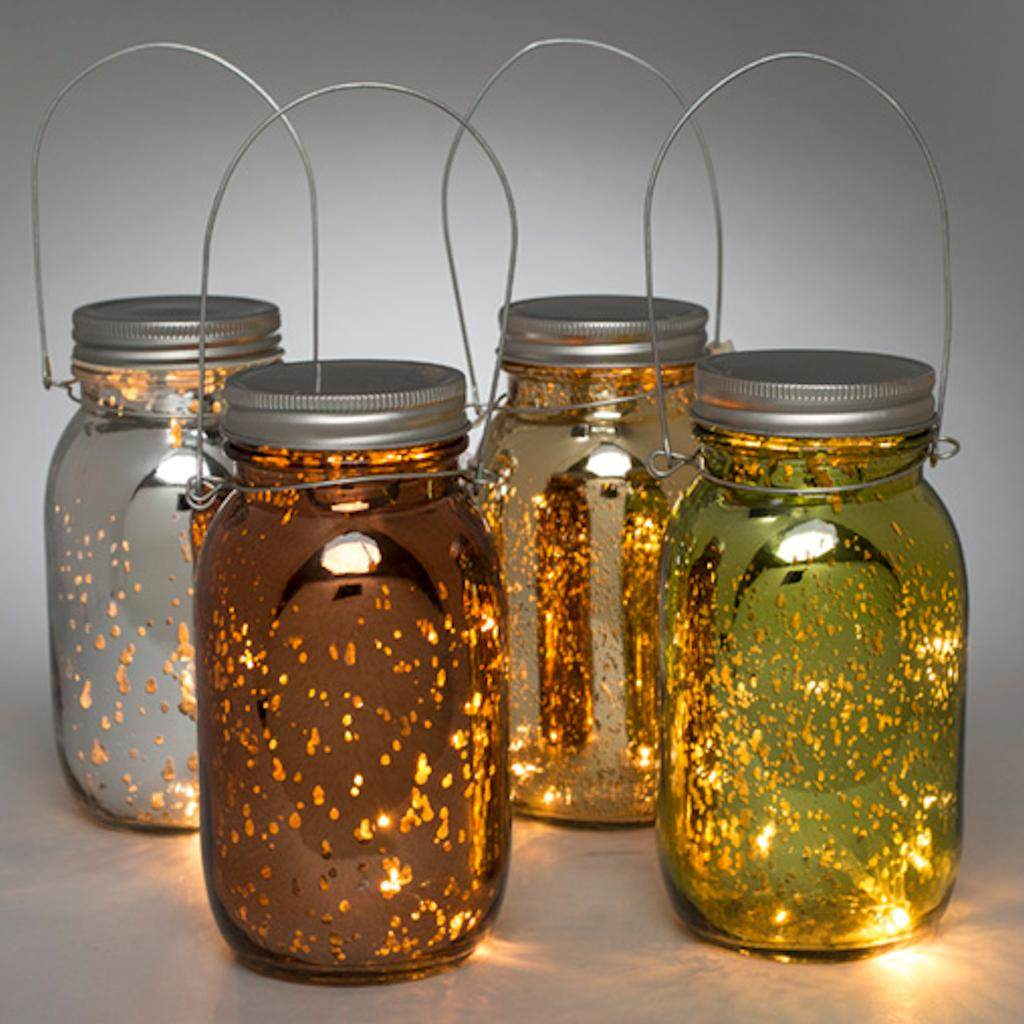 "Gerson 93238 - 6.9"" Mercury Glass Mason Jar Battery Operated Light with Timer (Set of 4) (93238)"