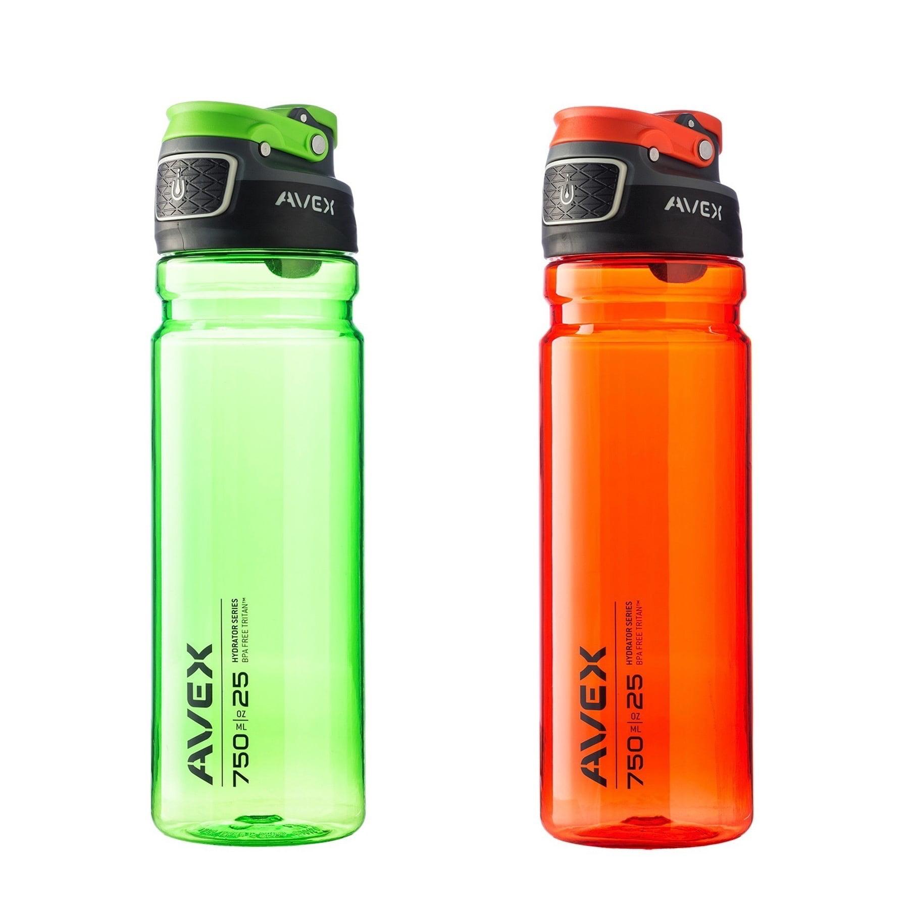 Avex FreeFlow Autoseal 25oz Plastic Water Bottle Combo Electric Green & Orange