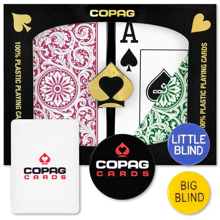 (Dealer Kit Bridge Jumbo (Green & Burgundy), Authentic, 100% plastic playing cards manufactured by Copag By Copag)