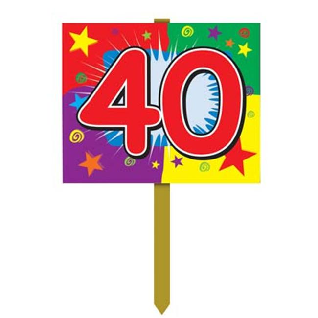 Beistle - 55916 - 40th Birthday Yard Sign - Pack of 6