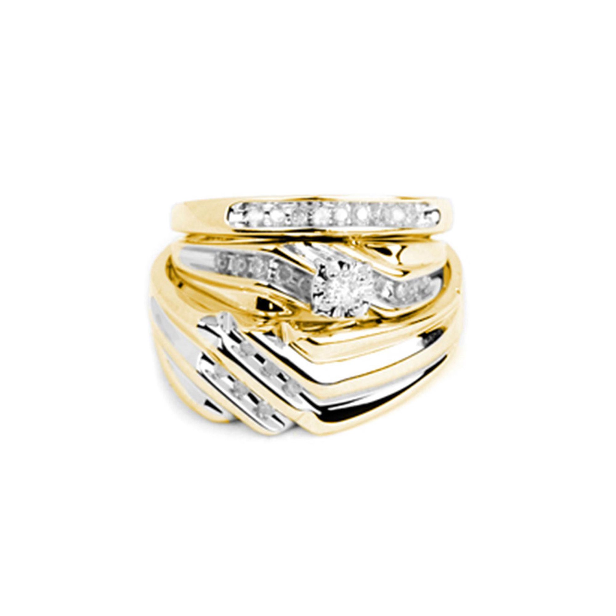 It is just a graphic of AA Jewels - Solid 48k Yellow Gold His and Hers Round Diamond Solitaire Matching Couple Three Rings Bridal Engagement Ring Wedding Bands Set 48/48 Ct. -
