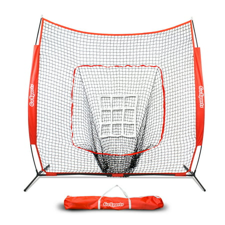 GoSports 7'x7' Baseball & Softball Practice Pitching & Fielding Net with Bonus Strike Zone