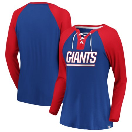 New York Giants NFL Pro Line by Fanatics Branded Women's Break Out Play Lace-Up V-Neck Raglan Long Sleeve T-Shirt -