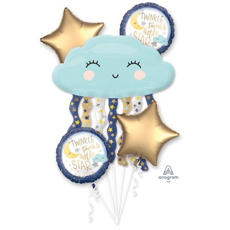 Twinkle Twinkle Little Star Baby Happy Birthday Party Favor 5CT Foil Balloon