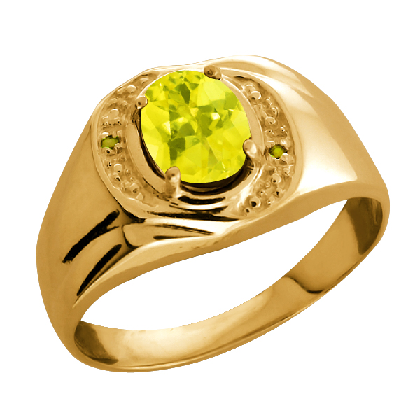 1.61 Ct Oval Canary Mystic Topaz and Canary Diamond 18k Yellow Gold Ring