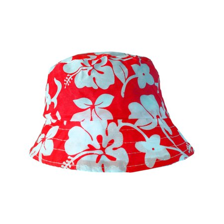 Red White Luau Hawaiian Flowers Power Hippy Costume Hibiscus Bucket Hat - White Bucket Hats