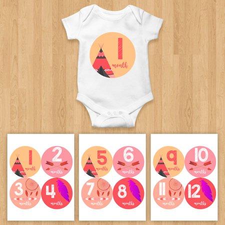 Monthly Baby Stickers Arrow Tee Tribal Feather Dream Catcher Nursery Decor Newborn Infant Milestone
