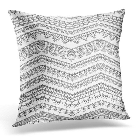 CMFUN Lace of Crochet Lacy Edges Sketched Zigzag Knitted Patterns Ornate Doodles Edging and Border on White Pillow Case Pillow Cover 20x20 inch