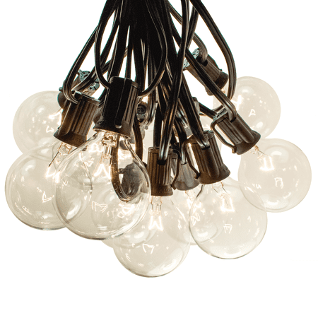 25 Foot Patio String Lights - G50 Clear 2 Inch Bulbs - Black Wire ()