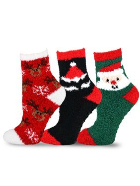 product image teehee christmas holiday cozy fuzzy crew socks 3 pack for women santa and deer
